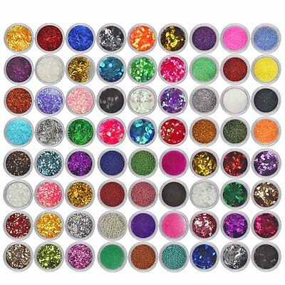 72 Glitter Dust Powder Hexagon Nail Art Decoration Set For Craft DIY Wine Glass