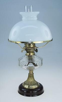 Antique Glass Oil Lamp with Glass Chimney and White Shade