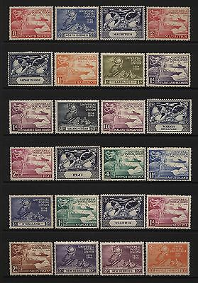 British Commonwealth 1949 UPU 24 Stamps Mounted Mint + Unmounted Mint