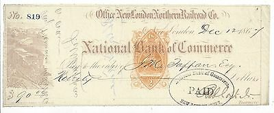 1867 Connecticut Railroad Bank Check RN-B1