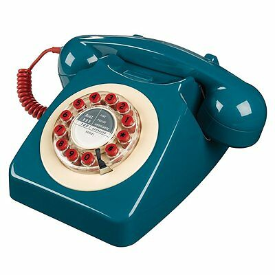 Wild & Wolf Retro 746 Push Button Telephone Petrol Blue & Red Phone