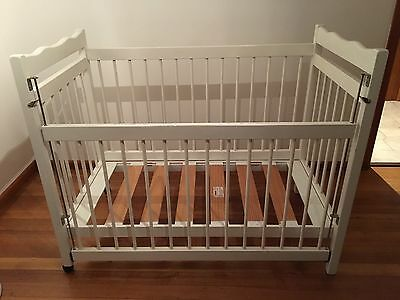 White Timber Cot With Mattress