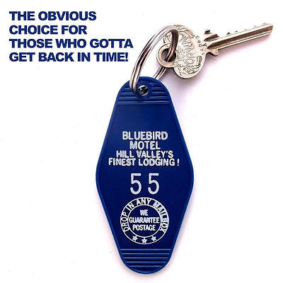 """BACK TO THE FUTURE movie """"BLUEBIRD MOTEL"""" PROP KEY TAG marty mcfly BTTF replica"""