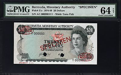 BERMUDA 20 DOLLARS SPECIMEN PMG 64 CHOICE UNC P.31s A/1 000000 WITH TDLR SEAL