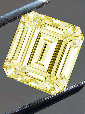 4.78 ct VVS1/CANARY YELLOW COLOR LOOSE EMERALD SQUARE REAL MOISSANITE 4 RING