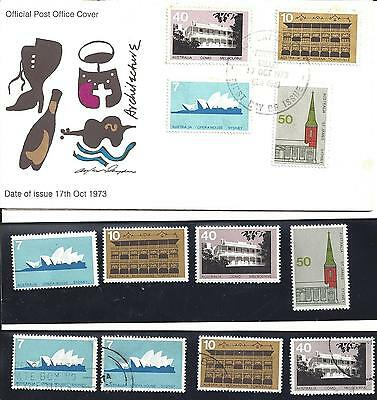 First Day Cover Architecture Series 1973 plus 4 x mint stamps and 4 x used
