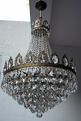 Antique French Basket Style Brass & Crystals GIANT Chandelier from 1950's