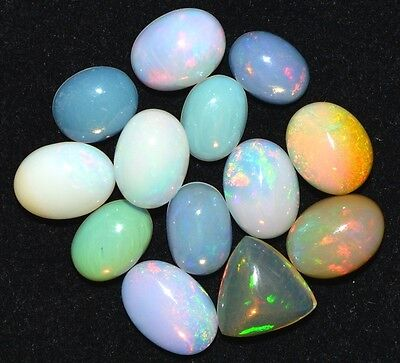 10.Cts 13 pices Natural Ethiopian Welo Opal Cabochon Gemstone 3x5-5x7mm
