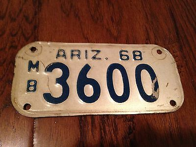 1968 Arizona Motorcycle License Plate 3600