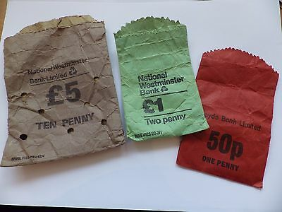 3 x Vintage Paper Bank Coin Bags - Nat West and LLoyds