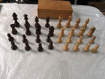 Vintage Large Wooden Chess Set