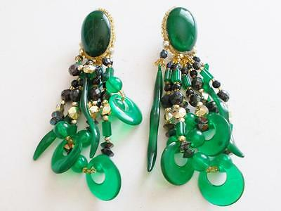 Vintage 1960's Emerald Green Lucite Gold Tone Beaded Tassel Statement Earrings