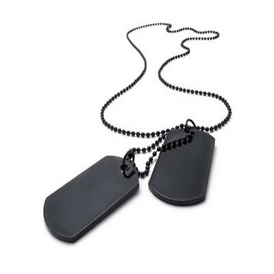 2 Necklace Dog Tag Chain Engravable Military Army Style Mens Pendant DIY Black