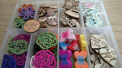 Card Making clearout x 80 woodén  mixed Embellishment/toppers SPECIAL OFFER