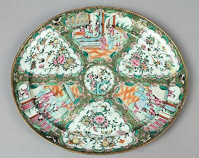 Exceptional Antique 19c Rose Mandarin Chinese Export Porcelain Platter 17 x 20""