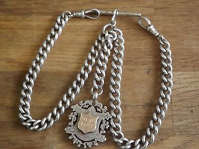 Good Antique Solid Sterling Silver Double Albert Pocket Watch Chain