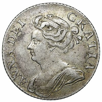 1709 Shilling - Anne British Silver Coin - V Nice