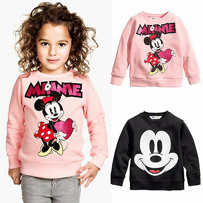 Kid Girls Boys Mickey Minnie Mouse Long Sleeve Sweatshirt T-shirt Top Size  2-7Y