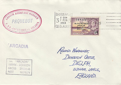 Tonga 4424 - Used in BRISBANE, QUEENSLAND 1968  PAQUEBOT cover to UK