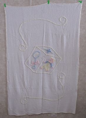 Vintage Chenille Pink, Blue, & Yellow  With Bear Baby Coverlet/blanket