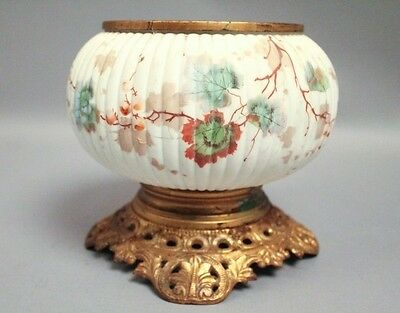 Antique Victorian 19c Aesthetic Art Glass Floral Painted Kerosene Lamp Base