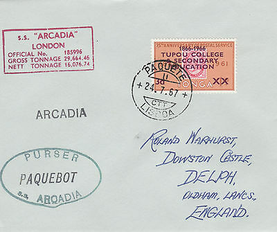 Tonga 4427 - Used in LISBON, PORTUGAL 1967  PAQUEBOT cover to UK