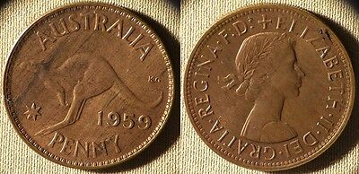 Australia : 1959(m)  1 Penny  CH.UNC Most Red  Luster Beautiful #56  IR7144