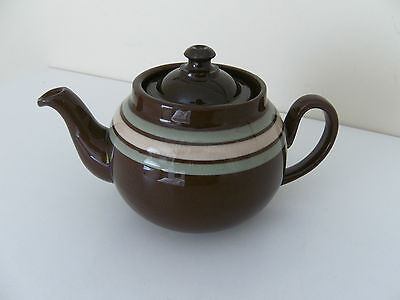 ALB Alcock Lindley & Bloore England Brown Betty Striped Teapot