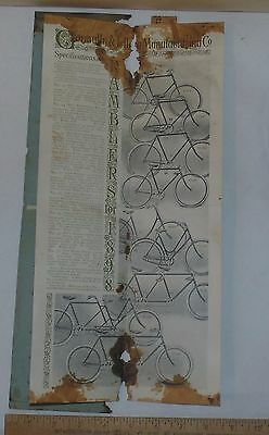 RAMBLER BICYCLES for 1898 - fold-out illustrated PAMPHLET - AS IS