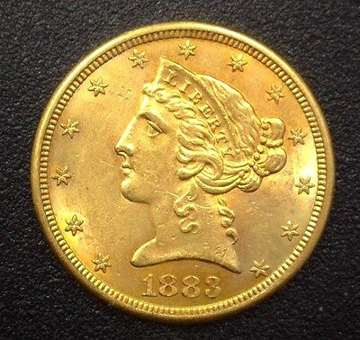 1883-S Liberty Head $5 Gold Half Eagle  Choice Uncirculated Scarce This Nice!
