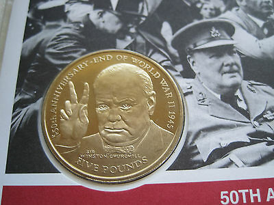 1995 CHURCHILL UNC £5 ISLE OF MAN COIN WITH A  50th ANNIVERSARY OF VE DAY FDC