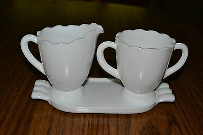 Mosser White Creamer and Sugar with Tray