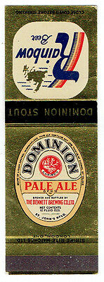 Dominion Pal Ale & Rainbow Beer Matchbook Cover  Bennett Brewing, St John's Nfld