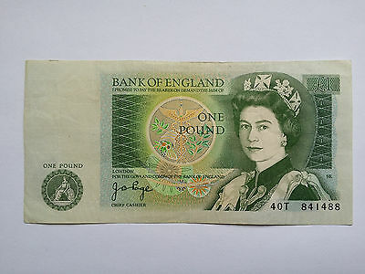 Old Isaac Newton One Pound Note - Cashier Page - Serial 40T 841488