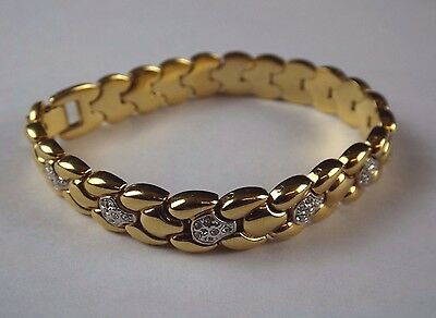 Gold Colour Bracelet with Silver Colour and Clear Cut Inlays