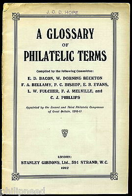Scarce Booklet : Glossary Philatelic Terms Stanley Gibbons 1912 Book
