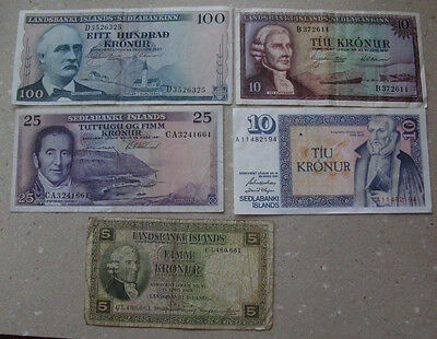 ICELAND# Lot of 5 old banknotes circulated.