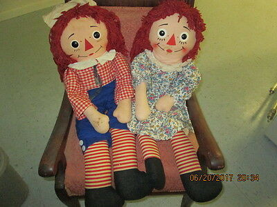 """Older Knickerbockers Raggedy Ann & Andy Dolls Approximately 30"""""""
