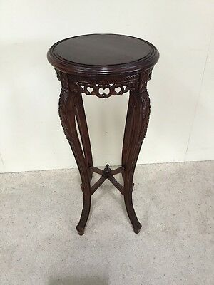 Victorian Design Mahogany Plant Stand Good Carved Detail