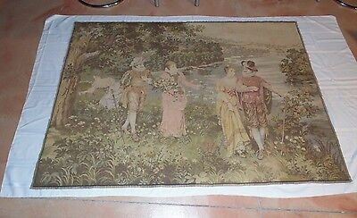"""Large Antique Vintage French Wall Hanging Tapestry  78"""" by 55"""" Pictorial Scene"""