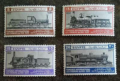 Egypt - Scott No's. 168-171 - 1933 Railroad Issue  Four (4) Different Stamps