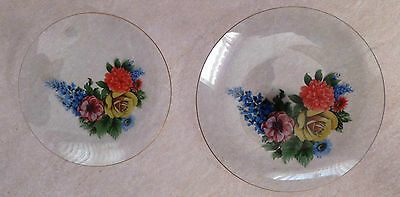 """Vintage 2 x Decorative Glass Plates with Floral Transfer on Base 8.1/4"""" & 7"""" Dia"""