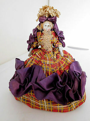 """Antique 6"""" China in Replica Costume of Jenny Lind Singing in New Orleans"""