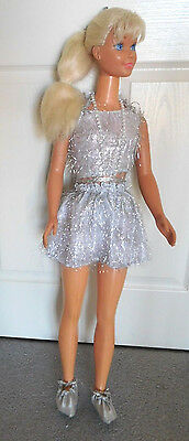 """1990's Mattel 36"""" My Size Barbie Platinum Blonde Long Ponytail in Tinsel Outfit"""