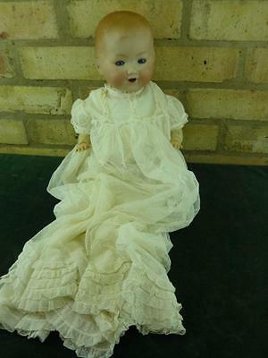 "nice vintage 18"" AM Germany Bisque Head Baby doll good condition"