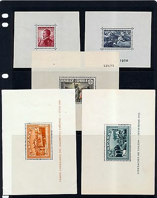 SPAIN 1936/38 Mini Sheets MNH MM x 5 (OV2058)