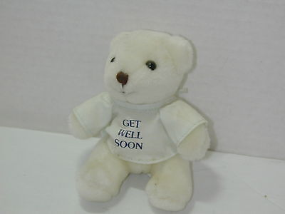 Russ Get Well Bear Gift White with hospital robe