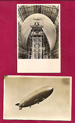 GERMANY, 2 Graf Zeppelin LZ 130 rppc, in hangar and flight, real photo post card