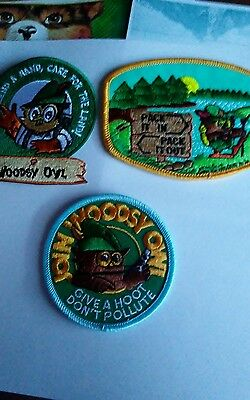 Choose 1 or all 3 . VINTAGE PATCHES. OFFICIAL WOODSY OWL PATCHES.