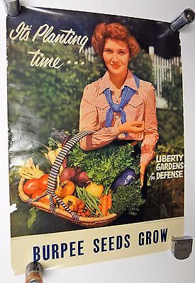 Vintage 40's BURPEE SEEDS GROW~LIBERTY GARDENS FOR DEFENSE~Hardware Store Sign